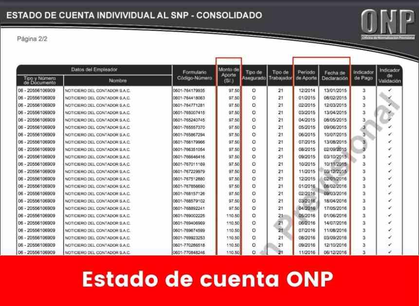 Estado de cuenta ONP