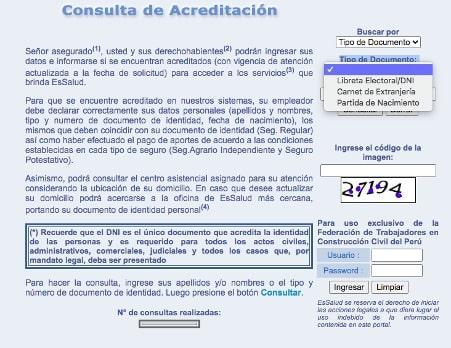 consulta acreditacion Essalud